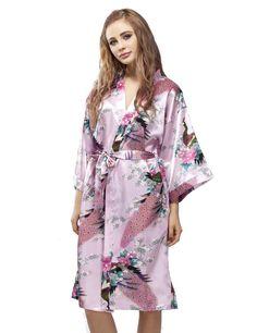 Pink Satin Peacock Kimono Robe, Wedding Kimono Nightgown, Short