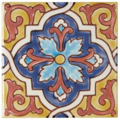 These gorgeous wall tiles are full of colour and pattern influenced by the vivid shades of Mexican interiors and ceramics. 16 vibrant decors and 4 base colours make up the collection, which are hand painted onto a terracotta base and suitable for kitche