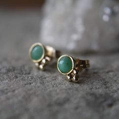 Emerald & Solid 14kt Gold Studs by ATELIER Gaby Marcos