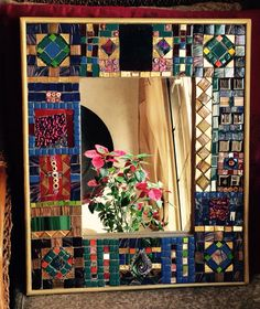 """""""Ruby in harmony """"mosaic mirror frame 45x55 cm hand made design and crafted by Elyassmine #mirror#mirrorframe#mosaic"""