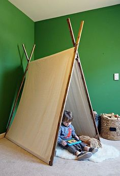 no sew dropcloth play tent