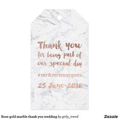Rose gold marble thank you wedding pack of gift tags