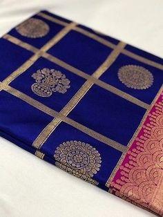 Blue and Pink with Floral Pot Zari Work Banarasi Silk Saree Royal Blue Saree, Blue Silk Saree, Wedding Silk Saree, Green Saree, Pink Saree, Pure Silk Sarees, Cotton Saree, Bridal Sarees, White Anarkali