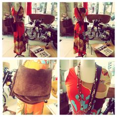 Vintage set made of a 70s orange and turquoise suit, very seventies with its flares. The handbag is a brown suede Chanel. And the long collar is Celine from the 1970s as well. Very flower power isn't? -> sales@design-only.com