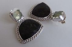 Olivine and Prehnite silver post & scroll by TheresaHingJewellery