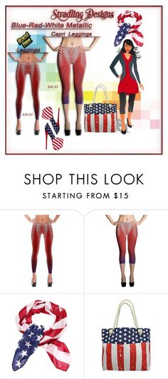 """""""Blue, Red & White Metallic Leggings"""" by stradlingdesigns ❤ liked on Polyvore"""