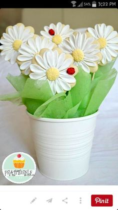 Prajiturele:  Daisy cookie bouquet.  Beautiful and so life like.