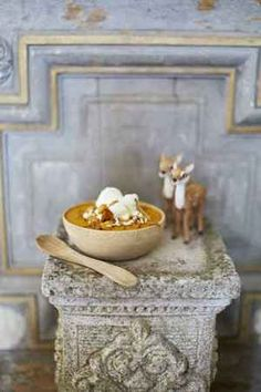 Deliciously French oh la la recipe from the lovely Rachel Khoo for pumpkin soup - with chantilly and onion confit - bon appetit!