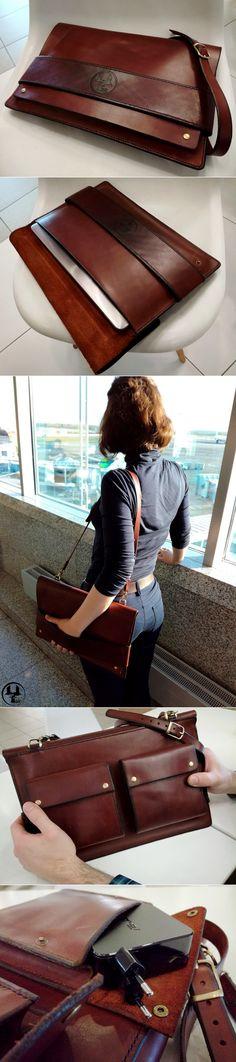 Кожаная папка - сумка - чехол для ноутбука ручной работы