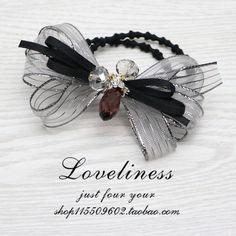 日韩春季新款发圈 银边条纹娟纱蝴蝶结头绳时尚气质珍珠发绳皮筋