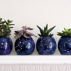 Pottery Painting, Ceramic Painting, Ceramic Art, Diy Clay, Clay Crafts, Blue Succulents, Diy Inspiration, Painted Pots, Ceramic Planters