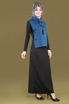 ** YENİ ÜRÜN ** Yelekli Tesettür Elbise Kombin Siyah&İndigo Ürün kodu: KNZ5086 --> 109.90 TL