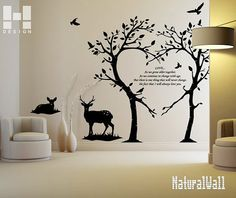 Love Trees and Deers -- Vinyl Wall Decals Wall Stickers Wall art Wall Decor Nursery Wall Decal Floral Wall Decal Vinyl Art. $86.00, via Etsy.