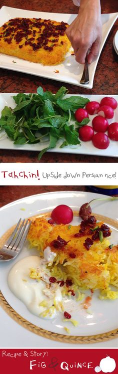 Tahchin (upside down layered saffron Persian rice) is a delicious comfort food rice cake that is baked in the oven. | Recipe & story: FigandQuince.com