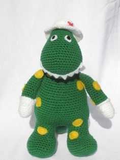 A crocheted Dorothy the Dinosaur! Oh. My. Gosh!!!!! My kids would flip!!!