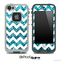 White & Sparkly Blue Chevron Print Skin for the iPhone 4/4s or 5 LifeProof Case on Etsy, $9.99