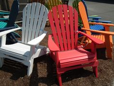 brightly colored folding adirondack chairs