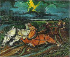 Horses with storm - Antonio Ligabue, 1950