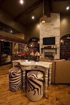 Excellent Free rustic Stone Fireplace Tips Excellent Pic Stone Fireplace christmas Popular 31 Rustic Stone Fireplace with Christmas decor Animal Print Furniture, Animal Print Decor, Animal Prints, Tuscan Decorating, Interior Decorating, Foyer Decorating, Decorating Ideas, Decor Ideas, African Interior Design