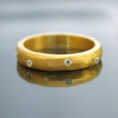 Anniversary gold ring Simple engagement ring by RAVITKAPLANJEWELRY