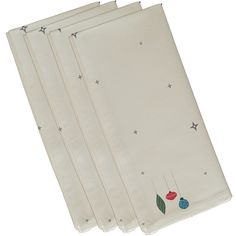 E by Design White Stars and Ornaments Holiday Print Decorative 19-inch Table Top Napkin (Ivory or Cream)