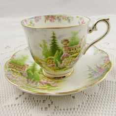 """Vintage Royal Albert Tea Cup and Saucer, """"Kentish Rockery"""" Bone China, As Supplied to Her Majesty Queen Mary"""