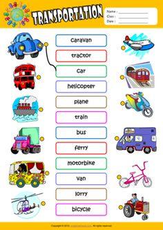 Transportation ESL Matching Exercise Worksheet For Kids
