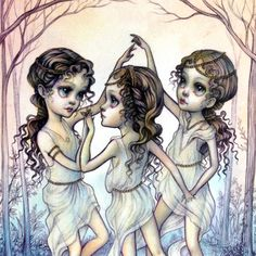 The Three Graces Illustration - Limited Edition signed numbered 8x10 pop surrealism lowbrow Fine Art Print by Mab Graves -unframed
