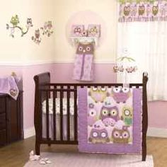 Cute little owls sitting in trees create a perfect design for crib bedding for baby girls. The nature motif is popular for the contemporary nursery...