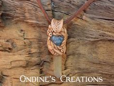 Ondines Creations Clay Pendant   Blue Apatite, Green Aura Crystal Point Hand Crafted Pendant #113 by OndinesCreations on Etsy