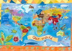 World Traveler: Children's placemat featuring landmarks and animals of each region of our world.  #oopsydaisy #oopsydaisyart #placemat