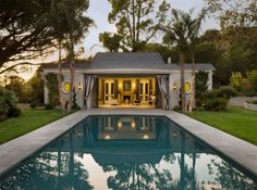 Hollywood Regency, Montecito - traditional - Pool - Other Metro - Maienza - Wilson Interior Design + Architecture Guest House Plans, Pool House Plans, Garage House Plans, Conception Web, Pool House Designs, Pool Coping, Pool Cabana, Cool Pools, Pool Houses