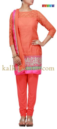 Buy it now  http://www.kalkifashion.com/orange-suit-with-zari-embroidery.html  Orange suit with zari embroidery