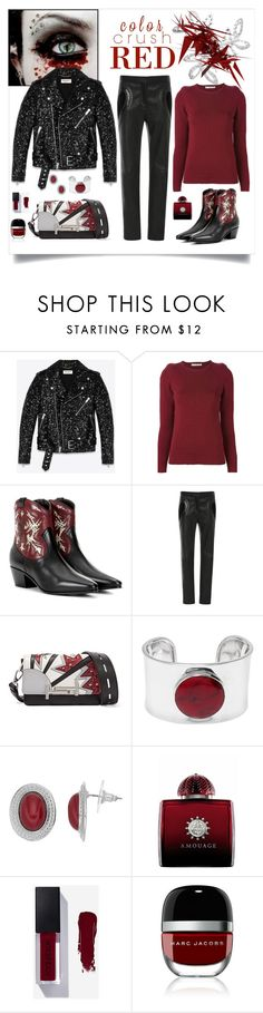 """""""Saint Laurent Rock 40 Cowboy Ankle Boots Look"""" by romaboots-1 ❤ liked on Polyvore featuring Yves Saint Laurent, Golden Goose, Elie Saab, Tod's, AMOUAGE and Marc Jacobs"""