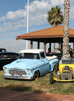 1955 Chevy Pickup Blue and White