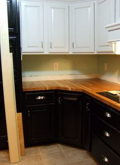Kitchen remodel we used Butcher Block counter tops carrera