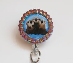 Finding Dory's Cuddle Party Otters ID Badge Reel - Retractable ID Badge Holder - Zipperedheart by ZipperedHeart on Etsy