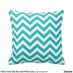Pillow with Sky Blue and White Line Pattern