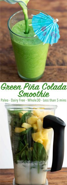 A green smoothie that tastes like a piña colada! This smoothie is a great healthy snack and has no added sugar! It's paleo, diary free, and Whole30.