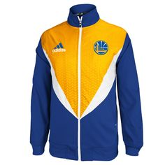 Golden State Warriors adidas Resonate Full Zip Performance Jacket - Royal/Gold