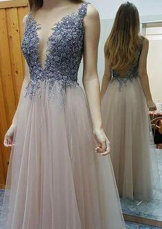 Stylish A-line Prom Dress - Deep V-neck Floor-Length Beading Backless, Long Prom Dresses, Prom Dress