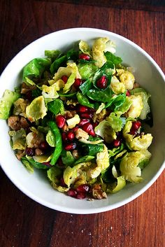 Brussels Sprout Salad with Pomegranate, Walnuts & Jalapeno by alexandracooks #Salad #Brussel_Sprouts #Pomegranate #Walnuts #Jalapeno #Healthy