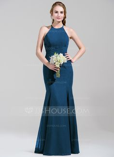 Trumpet/Mermaid Scoop Neck Floor-Length Chiffon Bridesmaid Dress With Ruffle Bow(s) (007072812)