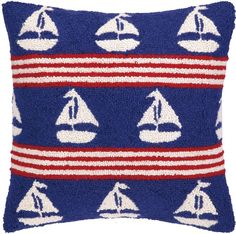 Banded Sailboats on Blue Hook Pillow