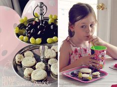 Minnie Mouse Party:  Minnie sandwiches using a cookie cutter + Minnie grapes using 1 large plus 2 smaller grapes skewered with toothpicks...genius, right?  {Kayla Aimee}