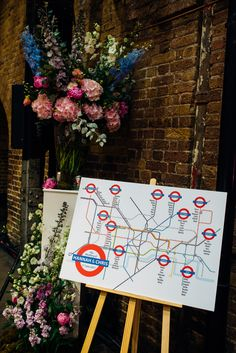 London Underground Map Table Plan | Urban Wedding at Village Underground, London | Marianne Chua Photography.