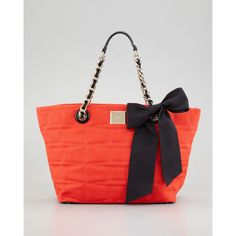 kate spade new york signature spade small linen coal tote bag, cherry ($328) ❤ liked on Polyvore