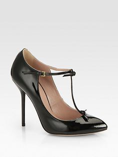 #Gucci Beverly Patent Leather T-Strap Pumps