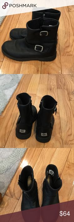 UGG Kids leather Moto Real UGG Kids leather Moto in used but great condition. Black with silver hardware. Size 4. Fast shipping 📬 and excellent reviews. 😊 price firm. UGG Shoes Boots
