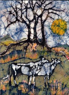 Holstein Cows in Autumn Mountains - Batik - original painting. Via Etsy PINNED by My Art y Lezama Batik Art, Batik Prints, Holstein Cows, Cow Art, Autumn Trees, Tree Art, Fabric Painting, Animal Paintings, Art Techniques